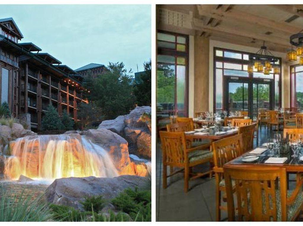 Artist Point, Wilderness Lodge, Disney World. Restoran ini dilengkapi dengan air terjun yang canrik dengan dekorasi yang terinspirasi dari Pacific Northwest wildness. menuanya steak dan seafood yang segar. Foto: Istimewa