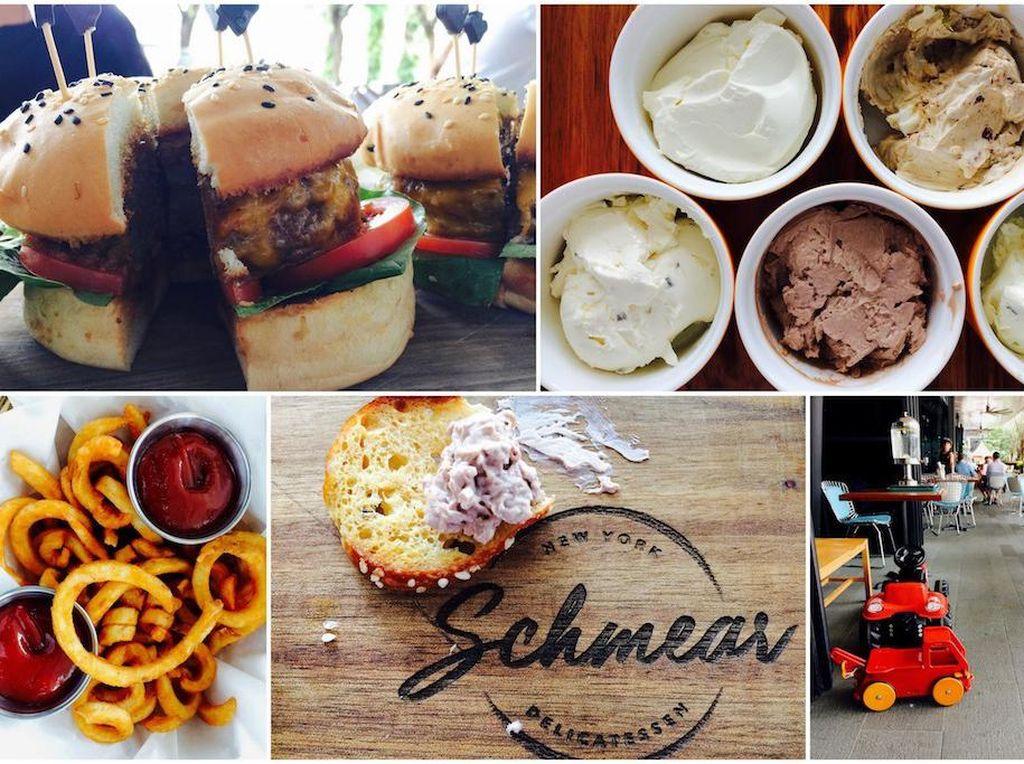 Dekat Quayside Isle di Sentosa Cove ada Schmear yang suguhkan sajian New York autentik. Pilihan menunya burger, onion rings hingga cokelat dengan bagel renyah yang bikin mereka ketagihan. Foto: Singapore Motherhood