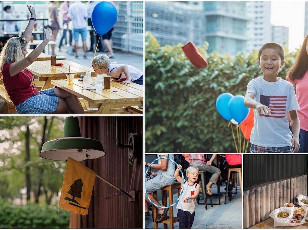 Kalau ini Camp Kilo Charcoal Club di Kampong Bugis dengan konsep camping. Berbagai aktivitas seru seperti melukis wajah, bercerita dan melukis batu bisa dilakukan si kecil. Tentu sambil menikmati cheeseburger, BBQ chicken skewers dan potato wedges enak. Foto: Singapore Motherhood