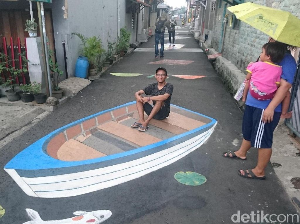 Begini Cara Membuat Lukisan Menipu Mata di Kampung 3D Depok